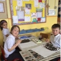 First Class children enjoying their art lesson
