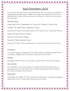 Newsletter April 16